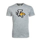 Next Level SoftStyle Heather Grey T Shirt-T w/Tiger Head