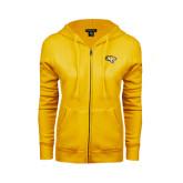 ENZA Ladies Gold Fleece Full Zip Hoodie-Tiger Head
