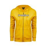 ENZA Ladies Gold Fleece Full Zip Hoodie-Towson Tigers Wordmark