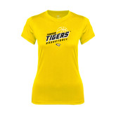 Ladies Syntrel Performance Gold Tee-Tigers Basketball Slanted w/Striped Pattern