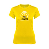 Ladies Syntrel Performance Gold Tee-Tigers Basketball Stacked Under Ball