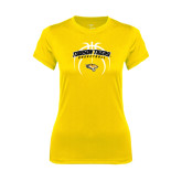 Ladies Syntrel Performance Gold Tee-Towson Tigers Arched Over Basketball