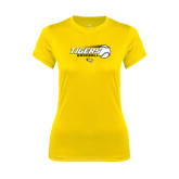Ladies Syntrel Performance Gold Tee-Tigers Baseball Flat w/Flying Ball