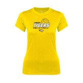 Ladies Syntrel Performance Gold Tee-Tigers Volleyball Stacked w/ Ball