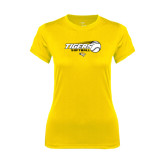 Ladies Syntrel Performance Gold Tee-Tigers Softball Flat w/Flying Ball