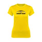 Ladies Syntrel Performance Gold Tee-Towson Tigers Football Horizontal