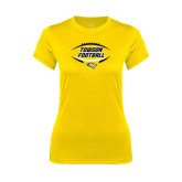 Ladies Syntrel Performance Gold Tee-Towson Football Inside Ball