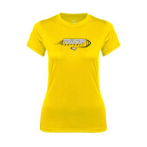 Ladies Syntrel Performance Gold Tee-Flying Football w/Tiger Stripes