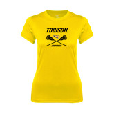 Ladies Syntrel Performance Gold Tee-Lacrosse Crossed Sticks