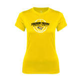 Ladies Syntrel Performance Gold Tee-Basketball Arched w/Ball