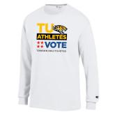 Champion White Long Sleeve T Shirt-TU Athletics Vote