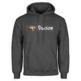 Charcoal Fleece Hoodie-Tiger Head w/Towson Flat