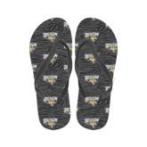 Ladies Full Color Flip Flops-Towson Charcoal Tiger Stripe
