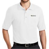 White Easycare Pique Polo-Athletics Wordmark