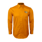 Gold Twill Button Down Long Sleeve-Tiger Head