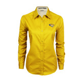 Ladies Gold Twill Button Down Long Sleeve-Tiger Head