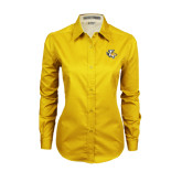 Ladies Gold Twill Button Down Long Sleeve-T w/Tiger Head
