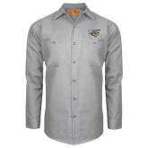 Red Kap Light Grey Long Sleeve Industrial Work Shirt-Primary Athletics Mark