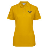 Ladies Easycare Gold Pique Polo-Tiger Head