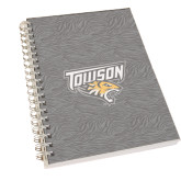 Clear 7 x 10 Spiral Journal Notebook-Towson Charcoal Tiger Stripe