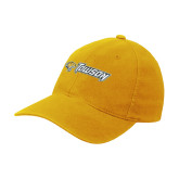 Gold Flexfit Mid Profile Hat-Athletics Wordmark