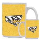 Full Color White Mug 15oz-Towson Yellow Tiger Stripe