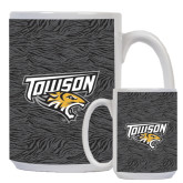 Full Color White Mug 15oz-Towson Charcoal Tiger Stripe