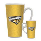 Full Color Latte Mug 17oz-Towson Yellow Tiger Stripe