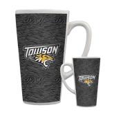 Full Color Latte Mug 17oz-Towson Charcoal Tiger Stripe