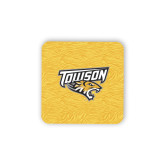 Hardboard Coaster w/Cork Backing-Towson Yellow Tiger Stripe