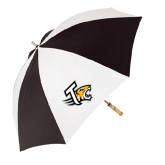 62 Inch Black/White Umbrella-T w/Tiger Head