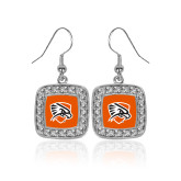 Crystal Studded Square Pendant Silver Dangle Earrings-Falcon Shield