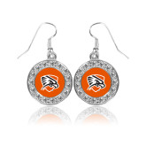 Crystal Studded Round Pendant Silver Dangle Earrings-Falcon Shield