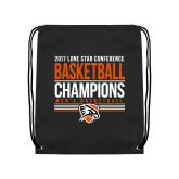 Black Drawstring Backpack-2017 Lone Star Conference Champions - Mens Basketball