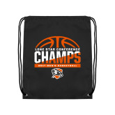 Black Drawstring Backpack-2017 Lone Star Conference Champs - Mens Basketball