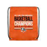 Orange Drawstring Backpack-2017 Lone Star Conference Champions - Mens Basketball