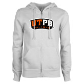 ENZA Ladies White Fleece Full Zip Hoodie-UTPB Falcons