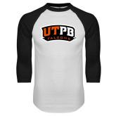 White/Black Raglan Baseball T-Shirt-UTPB Falcons