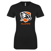 Next Level Ladies SoftStyle Junior Fitted Black Tee-Alumni