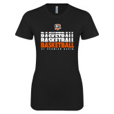 Next Level Ladies SoftStyle Junior Fitted Black Tee-UT Permian Basin Basketball Repeating
