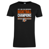 Ladies Black T Shirt-2017 Lone Star Conference Champions - Mens Basketball
