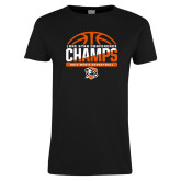 Ladies Black T Shirt-2017 Lone Star Conference Champs - Mens Basketball
