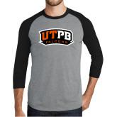 Grey/Black Tri Blend Baseball Raglan-UTPB Falcons
