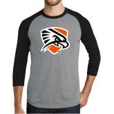 Grey/Black Tri Blend Baseball Raglan-Falcon Shield