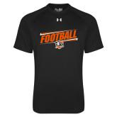 Under Armour Black Tech Tee-Football Slanted w/Falcon Shield