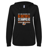 ENZA Ladies Black V Notch Raw Edge Fleece Hoodie-2017 Lone Star Conference Champions - Mens Basketball