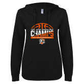 ENZA Ladies Black V Notch Raw Edge Fleece Hoodie-2017 Lone Star Conference Champs - Mens Basketball