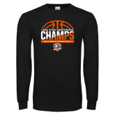 Black Long Sleeve T Shirt-2017 Lone Star Conference Champs - Mens Basketball