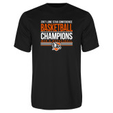 Performance Black Tee-2017 Lone Star Conference Champions - Mens Basketball