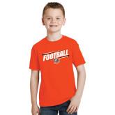 Youth Orange T Shirt-Football Slanted w/Falcon Shield